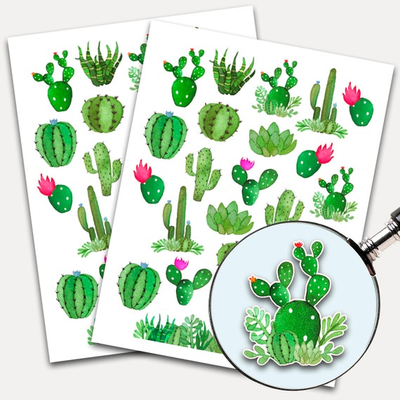 Cactus Planner Stickers, Watercolor Cactus Stickers, Succulent Planner Sticker Sheet, Erin Condren, Life Planner, Happy Planner 9388