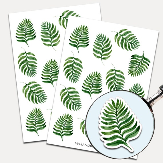 Tropical Long Leaves Stickers, Envelope Seals, Planner Stickers, Succulent, Nature, Palm Leaves, Stickers, Journal Stickers (2389)