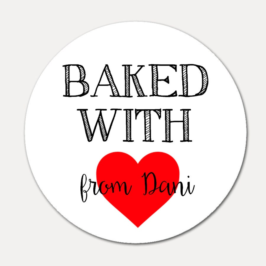Personalized stickers baked with love stickers personalized stickers tags baked goods label baking stickers gift tags set of 12