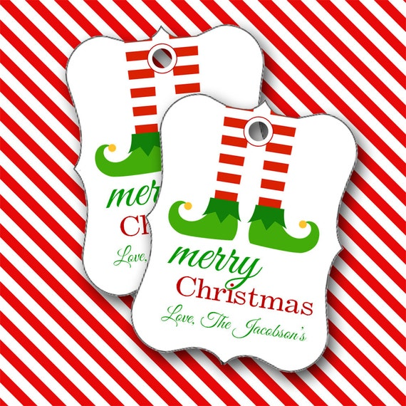 Christmas Tags, Elf Feet Personalized Christmas Tags, Party Favors, Place Cards - Set of 8 (9872)