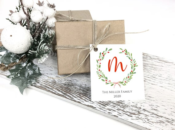 Monogram Christmas Tag, Christmas Wreath Tag, Holiday Gift Tag, Enclosure Cards, Personalized Christmas Tags C2827
