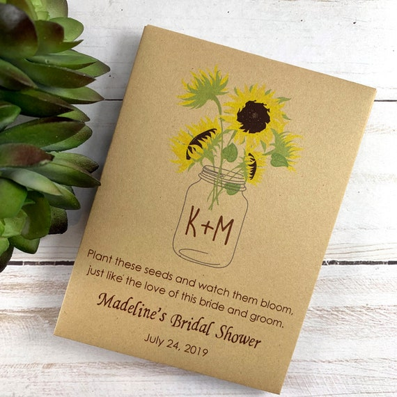 DIY Custom Seed Packets, Let Love Grow Seed Packets, Flower Seed Packets, Kraft, Bridal Shower, Wedding Seed Packets, Love Grows Wild 3660