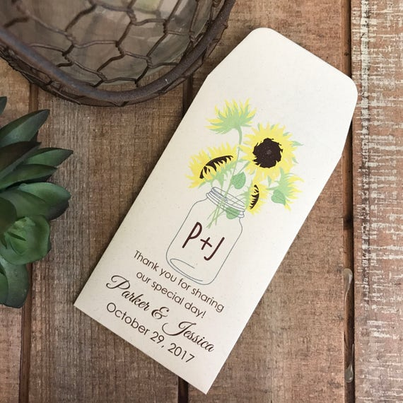DIY Custom Seed Packets Sunflower, Custom Envelope, Kraft, Personalized Envelopes, Wedding Favors, Bridal Shower, Seed Packet, Let Love Grow