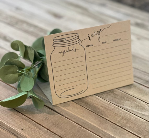 Folded Recipe Cards | Kraft Recipe Cards | Wedding |  Bride |  Minimalist |  Mason Jar  | Double-sided |  Set of 24  |  FRC2900