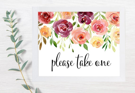 PRINTABLE Please Take One, Wedding Signs, Floral, Seed Packet Sign, Printable Wedding Sign, Wedding Signs, DIY, In Memory
