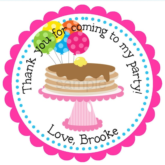 pancake party personalized stickers birthday address etsy