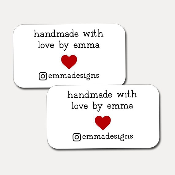 Mini Business Cards | Handmade with Love |  Rounded Corners | Printed Business Cards | Kraft | Set of 21 | 2675