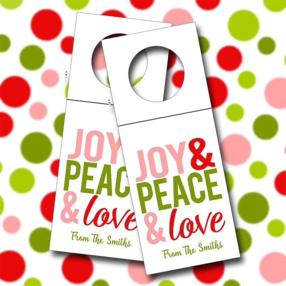 Personalized Wine Tags, Joy, Peace and Love Wine Tags, Bottle Tags - Set of 6