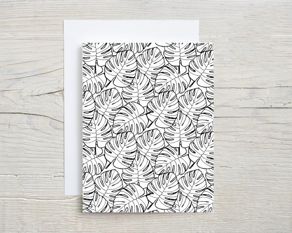 tropical pattern card set  | blank note cards  | folded card  | stationary set  | card  | thank you card | thinking of you card | 4345