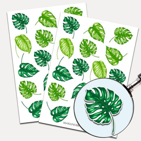 Tropical Agnon Leaves Stickers, Envelope Seals, Planner Stickers, Tropical Leaves, Nature, Palm Leaves, Stickers, Journal Stickers (7957)