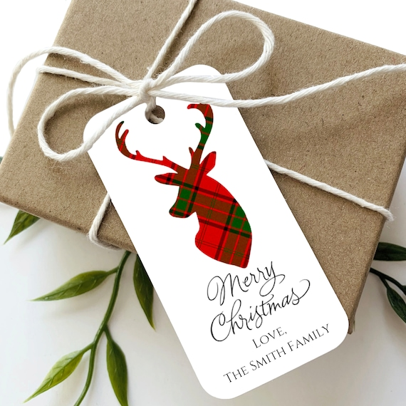 Plaid Christmas Tags, Merry Christmas Tags, Personalized Tags, Custom Tags, Gift Tags, Reindeer Tags, Red Plaid  - Set of 20