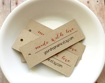 Personalized Made With Love Tags, Custom Tags, Personalized Tags, Wedding Tags, Product Tags, Gift Tags, Personalized Tags - Set of 25