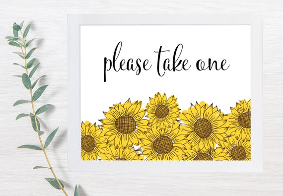 PRINTABLE Please Take One, Wedding Signs, Bug Spray Wedding, Summer Wedding, Printable Wedding Sign, Wedding Signs, DIY, Sunflower