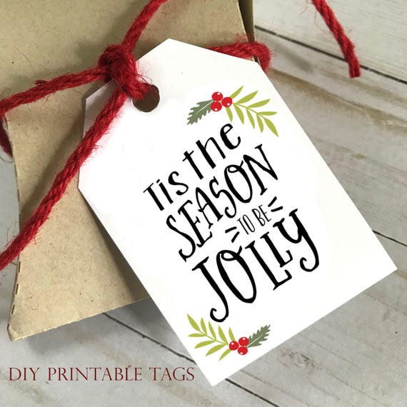 DIY PRINTABLE Tags  |  Tis The Season To Be Jolly  |  Printable Christmas Gift Tags | Holiday Gift Tags | Gift Tags