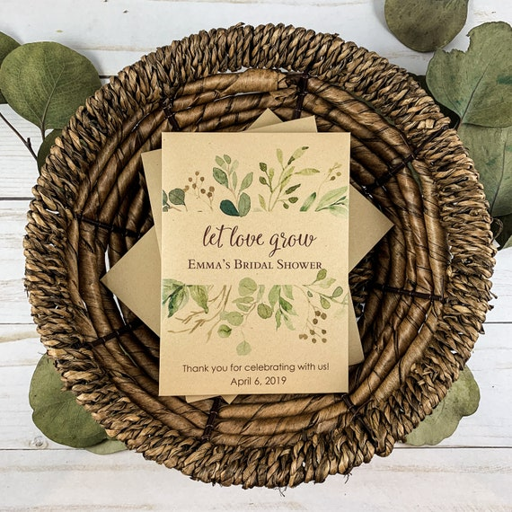 DIY Custom Seed Packets, Let Love Grow, Kraft, Personalized Envelopes, Wedding Favors, Bridal Shower, Seed Packet, Let Love Grow