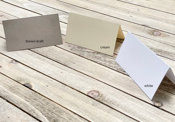 """24 Blank Tent Cards 3.5"""" x 2"""" Kraft Brown Wedding Place cards Wedding Reception Buffet Food Table Setting Dinner Party Seating Tent Style"""
