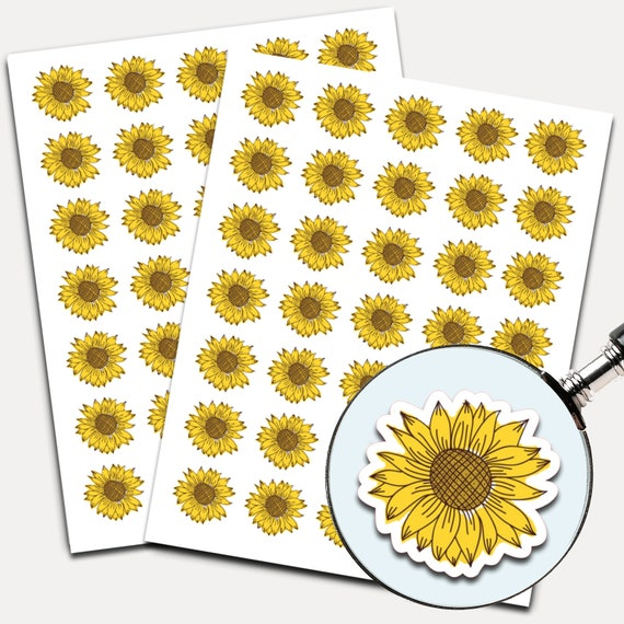 Sunflower Stickers, Envelope Seals, Planner Stickers, Floral Stickers, Watercolor, Yellow Flower, Botanical Flower (6422)