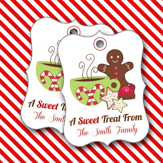 Christmas Tags, Gingerbread Cookie Tags, Personalized Christmas Tags, Hang Tags, Party Favors, Place Cards - Set of 8