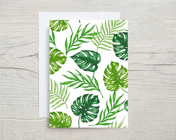 tropical leaf card set  | blank note cards  | folded card  | stationary set  | card  | thank you card | thinking of you card | 7999