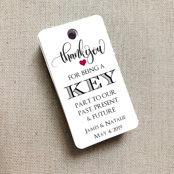 Key to Our Past, Present & Future, Wedding Gift Tags, Wedding Rehearsal Dinner, Custom Favor Tags, Gift Tag Wedding Favor - Set of 20