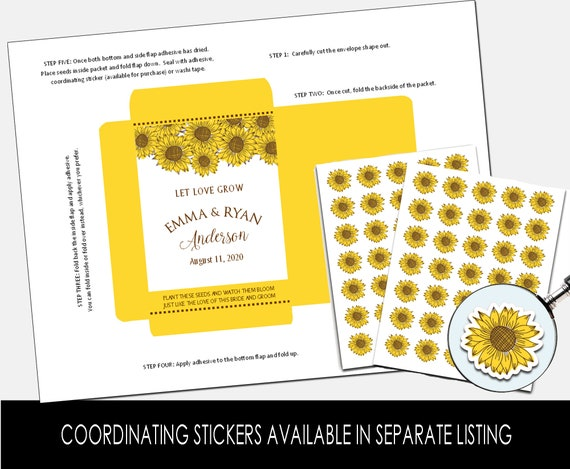 DIY Custom Seed Packets, Kraft, Sunflower Wedding Favors, Bridal Shower, Let Love Grow, Seed Favors, Personalized Envelopes (4229)