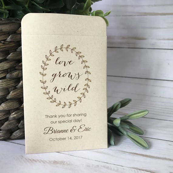 NEW SIZE - DIY Custom Seed Packets, Kraft, Personalized Envelopes, Wedding Favors, Bridal Shower, Seed Packet, Let Love Grow