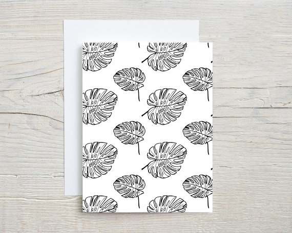 tropical pattern card set    blank note cards    folded card    stationary set    card    thank you card   thinking of you card   2065