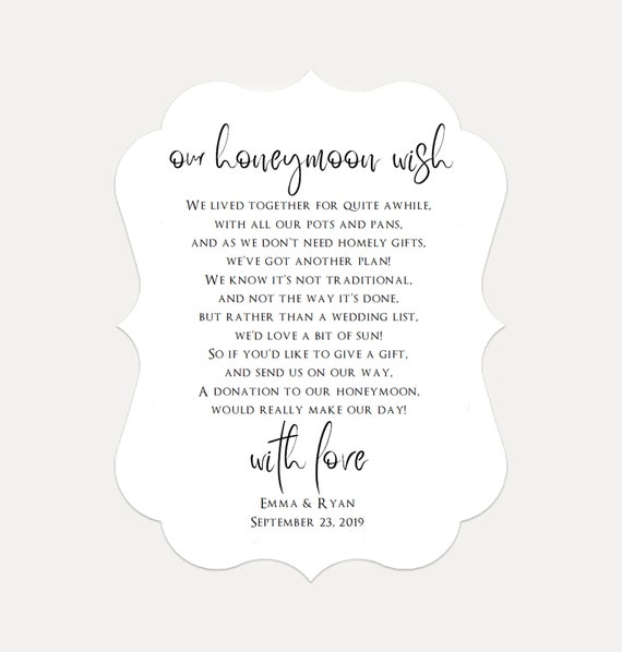Personalized Wedding Honeymoon Wish Money Poem Request Cards, Wedding Invitation, Kraft Card A2 (2548)