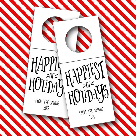 Happiest of Holiday Wine Tags, Christmas Bottle Tags, Wine Tags - Set of 6