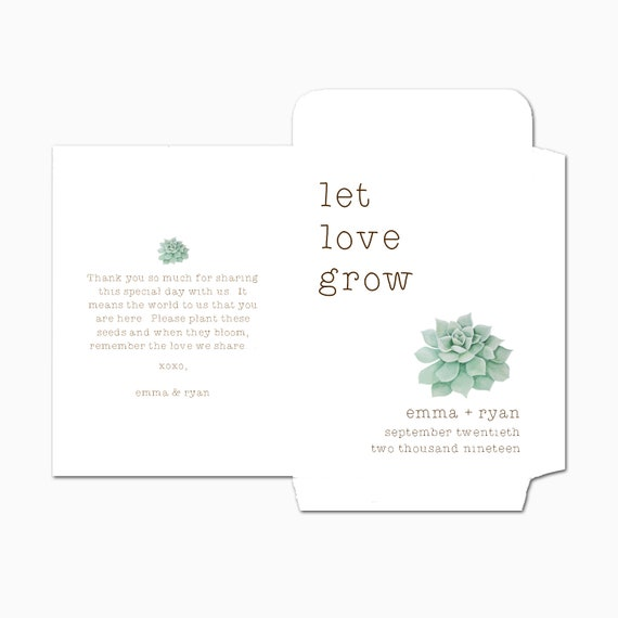 NEW DOUBLE SIDED Custom Seed Packets, Let Love Grow, Kraft, Personalized Envelopes, Wedding Favors, Bridal Shower, Seed Packet (3384)