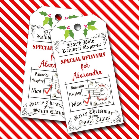 Special Delivery from Santa, Christmas Tags, Personalized Tags  - Set of 16
