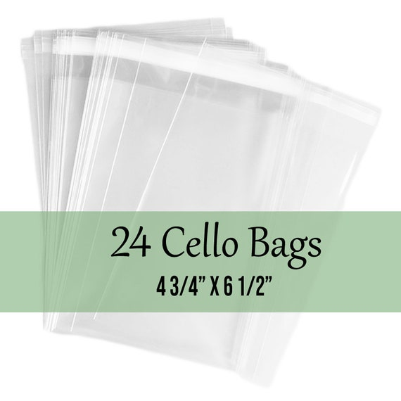 "25 Clear Treat Bags, Cello Bags, Resealable Cello Bags, Flat Clear Bags 4 3/4"" x 6 1/2"""