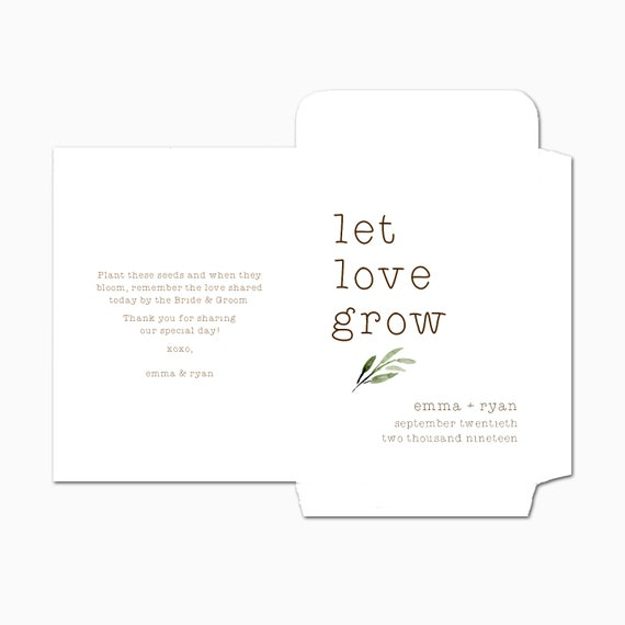 NEW DOUBLE SIDED Custom Seed Packets, Let Love Grow, Kraft, Personalized Envelopes, Wedding Favors, Bridal Shower, Seed Packet (2993)