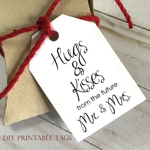 DIY PRINTABLE Tags  |  Hugs and Kisses from the Mr and Mrs  |  Printable Gift Tags | Wedding Gift Tags | Shower Gift Tags