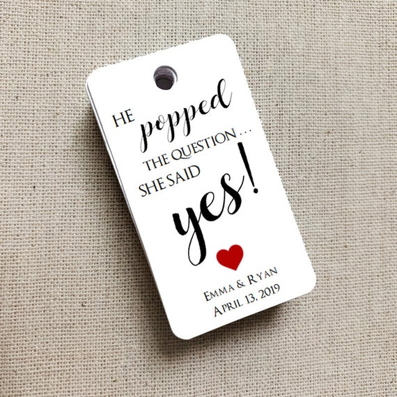 He Popped the Question, Bridal Shower Label, Engagement, Popcorn Box, Custom Favor Tags, Gift Tag Wedding Favor - Set of 20