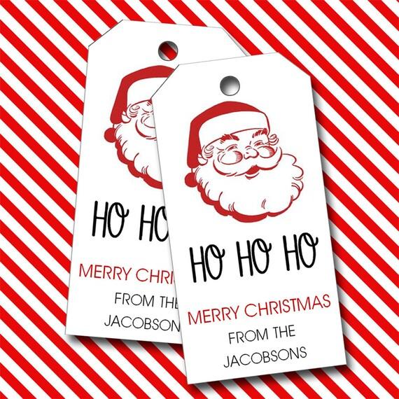 Christmas Tags, Santa Tags, Santa Claus, Personalized Tags  - Set of 16