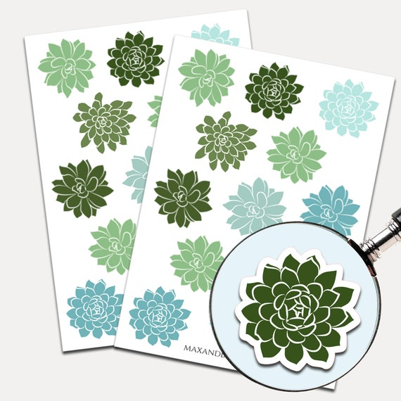 Succulent Stickers, Envelope Seals, Planner Stickers, Succulent, Nature, Cactus Stickers, Journal Stickers (5434)