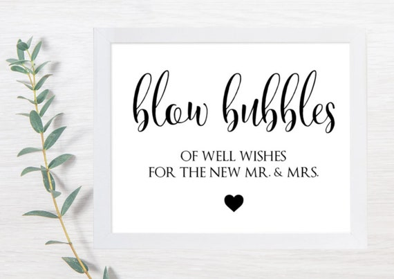 PRINTABLE Bubble Sign, Bubbles Wedding Signs, Wedding Signs, Blow Bubbles, Well Wishes, Rustic, Wedding Sign, DIY