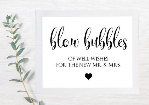 PRINTABLE Bubble Sign, Bubbles Wedding Signs, Wedding Signs, Blow Bubbles, Well Wishes, Rustic, Wedding Sign, DIY