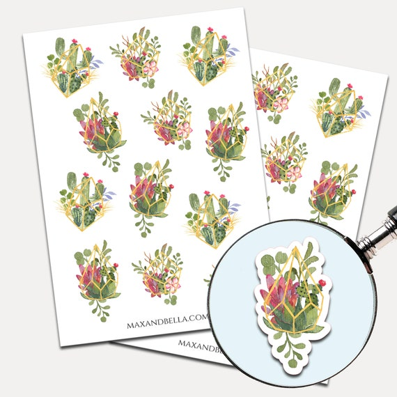 Succulent Watercolor Stickers, Envelope Seals, Planner Stickers, Succulent, Nature, Cactus Stickers, Journal Stickers (9242)