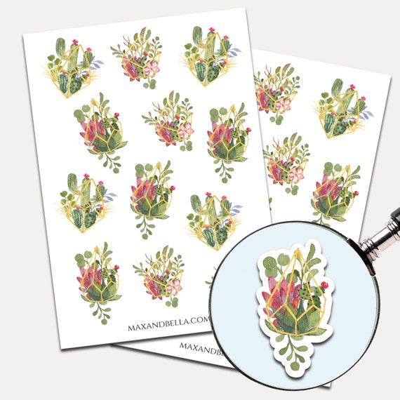 Succulent Watercolor Stickers, Envelope Seals, Planner Stickers, Succulent, Nature, Cactus Stickers, Journal Stickers (9242)
