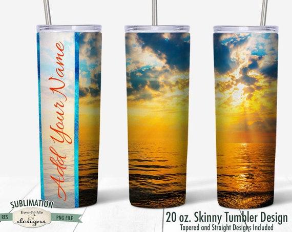 Ocean Sunrise Beach Tumbler Sublimation Design