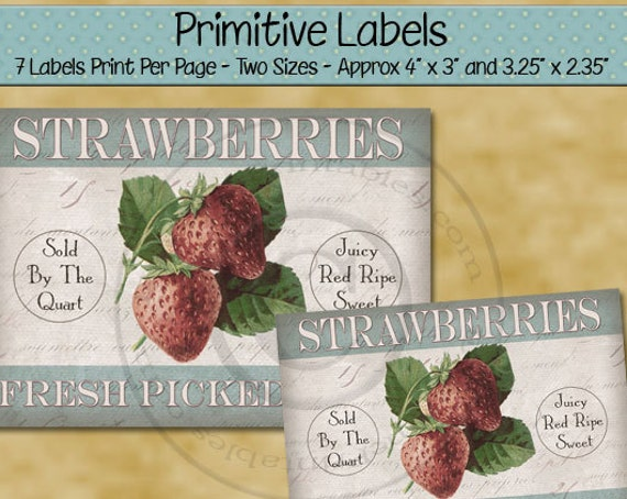 Farmhouse Style Kitchen Decor Primitive Labels -  Printable Rustic Label - Fresh Pick Strawberry  - Primitive Country - PDF - JPG File