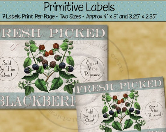 Farmhouse Style Kitchen Decor Primitive Labels -  Printable Rustic Label - Fresh Picked Blackberry - Primitive Country - PDF - JPG File