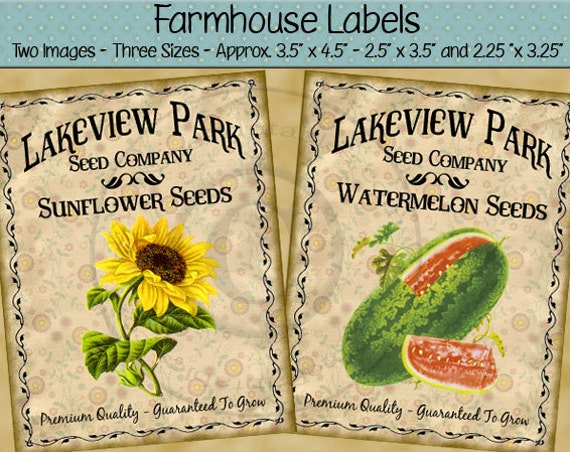 Sunflower Seed Watermelon Seed Printable Farmhouse Labels - Primitive Rustic Style Labels - Digital PDF or JPG File