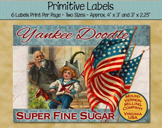 Primitive Patriotic Labels with Flag and Child Riding Stick Horse - Old Flags - Yankee Doodle Sugar - July 4th - Printable PDF or JPG File