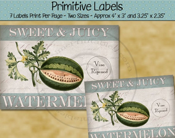 Farmhouse Style Kitchen Decor Primitive Labels -  Printable Rustic Label - Watermelon  - Primitive Country - Printable PDF - JPG File