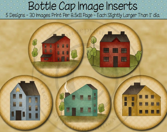 Primitive Saltbox Style House Bottle Cap Image Printables - 1 inch Round bottlecap Images - Digital PDF and/or JPG File