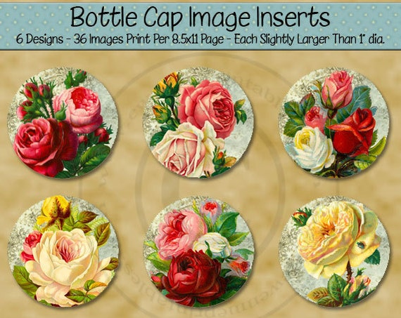 Printable Victorian Rose 1 Inch Bottle Cap Images - Shabby Cottage Roses - Digital PDF and/or JPG File