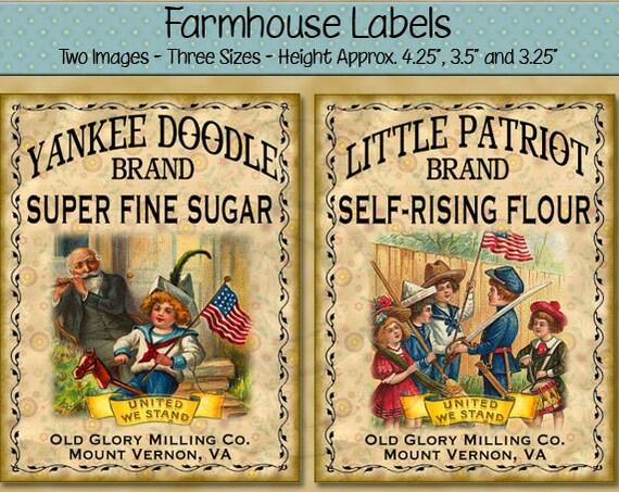 Patriotic Labels -  Little Patriot Flour or Yankee Doodle Sugar Printable Farmhouse Labels - Rustic Primitive Style Digital PDF or JPG File